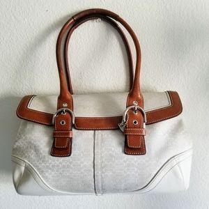 Coach Ivory Leather Cloth Satchel Purse Handbag